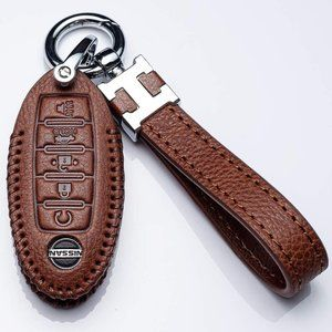 Leather Car Key Fod Cover Case Protector, Model B_brown